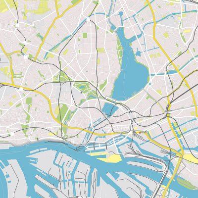 Vektor-Basiskarte Hamburg